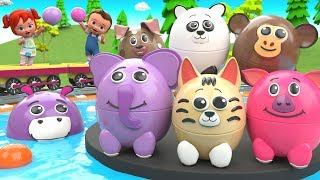 Learn Animals Names for Kids | Little Babies Fun with Play Animals Surprise Eggs Puppet Toys 3D Edu