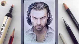 Aidan Turner miniature portrait timelapse WIP animation