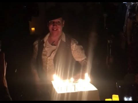 Marilyn Manson blows out candles on the cake at the birthday party (05/01/2018)
