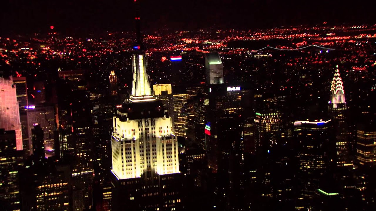Empire State Building aerial view at night