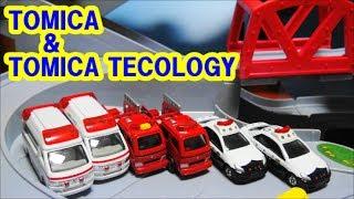 トミカとトミカテコロジー はたらくクルマ  緊急車両  トミカ峠で夢の競演! TAKARATOMY Eco Toy