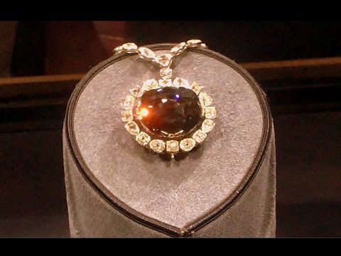 45 carat Hope Diamond from India displayed at Smithsonian museum (3-clips)