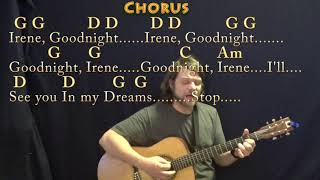 Goodnight, Irene (Traditional) Strum Guitar Cover Lesson in G with Chords/Lyrics - Country Waltz