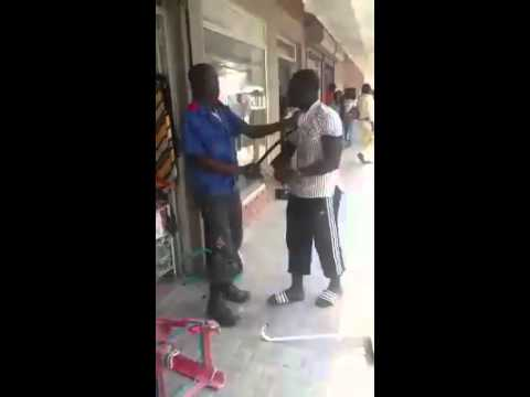 Security Guard thinks he is badass until he meets this guy and gets a beat down