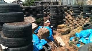 видео фундамент бани из автошин