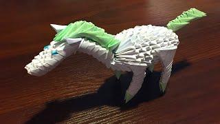 Конь (лошадь, Единорог, лошадка) из модулей оригами из бумаги мк