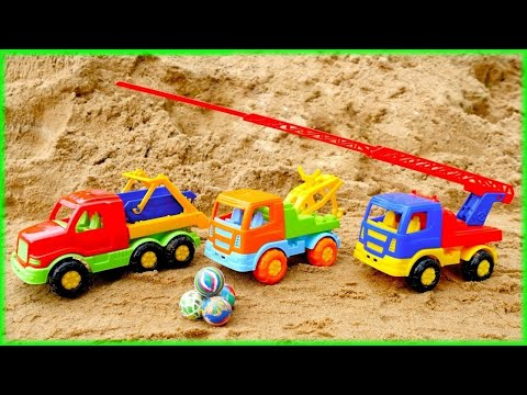 Toy Cars Videos. Learn To Count With Helper Cars. Trucks For Children. Working Machines On A Beach.