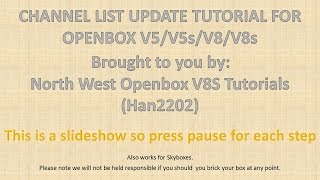 Channel List Update For Openbox V5/V8 and Skybox models