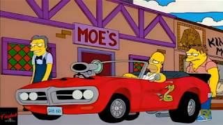 Homero Simpson presumiendo de su auto deportivo