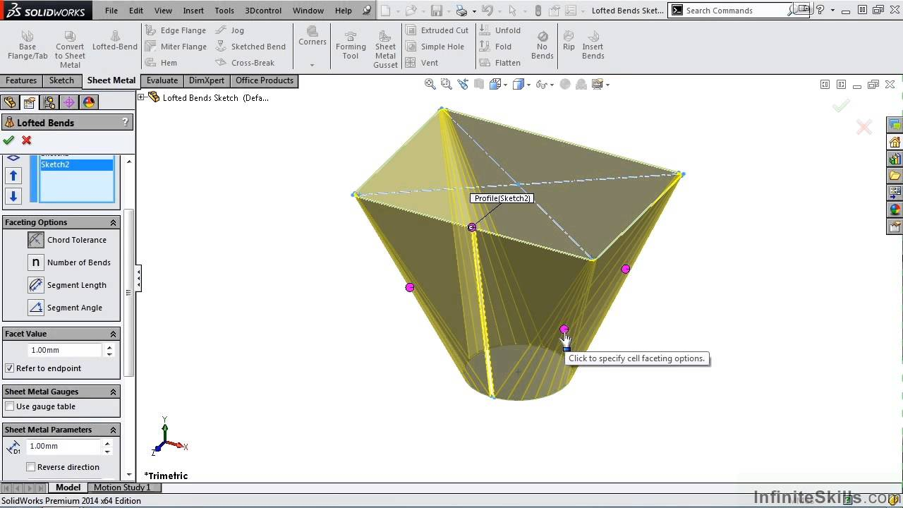 Solidworks Sheet Metal Tutorial Lofted Bends Youtube
