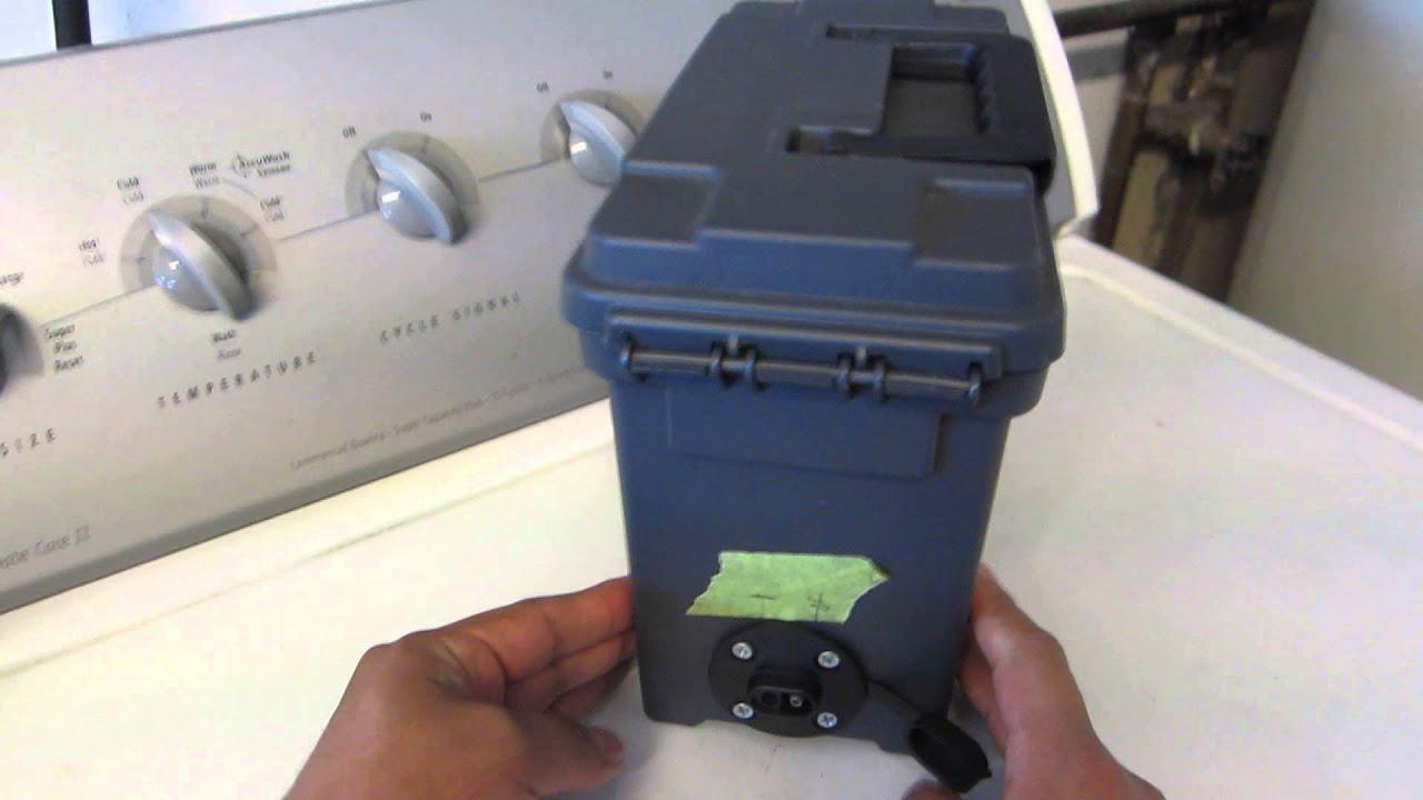 Portable battery power box shtf emergency box youtube for Ice fishing battery box