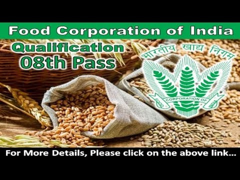 Job vacancy in Food Corporation of India (FCI) | Syllabus | 8th pass jobs