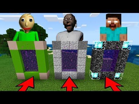 DO NOT CHOOSE THE WRONG PORTAL in Minecraft PE (GRANNY, BALDI & HEROBRINE) thumbnail