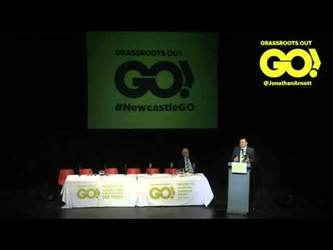 Jonathan Arnott MEP speaking at Grassroots Out event in Newcastle