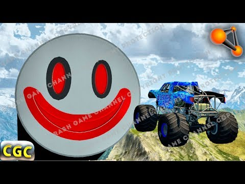 High speed Jumps and Crashes into Huge Clown Smile (Ramp and descent jumps) Beamng drive #2