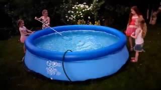 Надувание надувного бассейна Intex (305х76 см) + обеззараживание пергидролью (пергидроль)