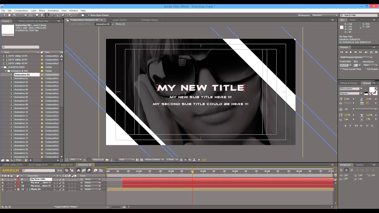 after effects video tutorial - slideshow iii - youtube, Presentation templates