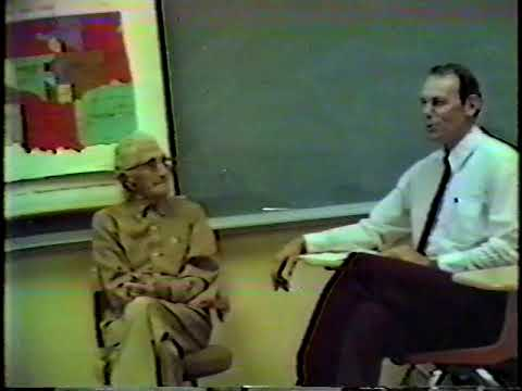Jerry L. Walker interviewing Clarence Harris at Ft Gibson High School - 1985