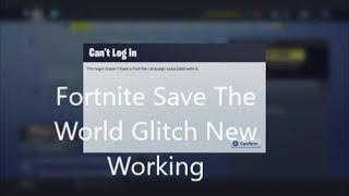 Fortnite Save The World Campagne Glitch Travail