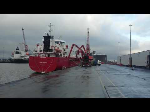 Freight ship unloading salt from Spain at Avonmouth