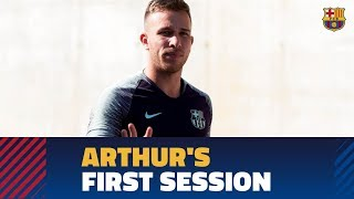 Arthur's first training session with Barça