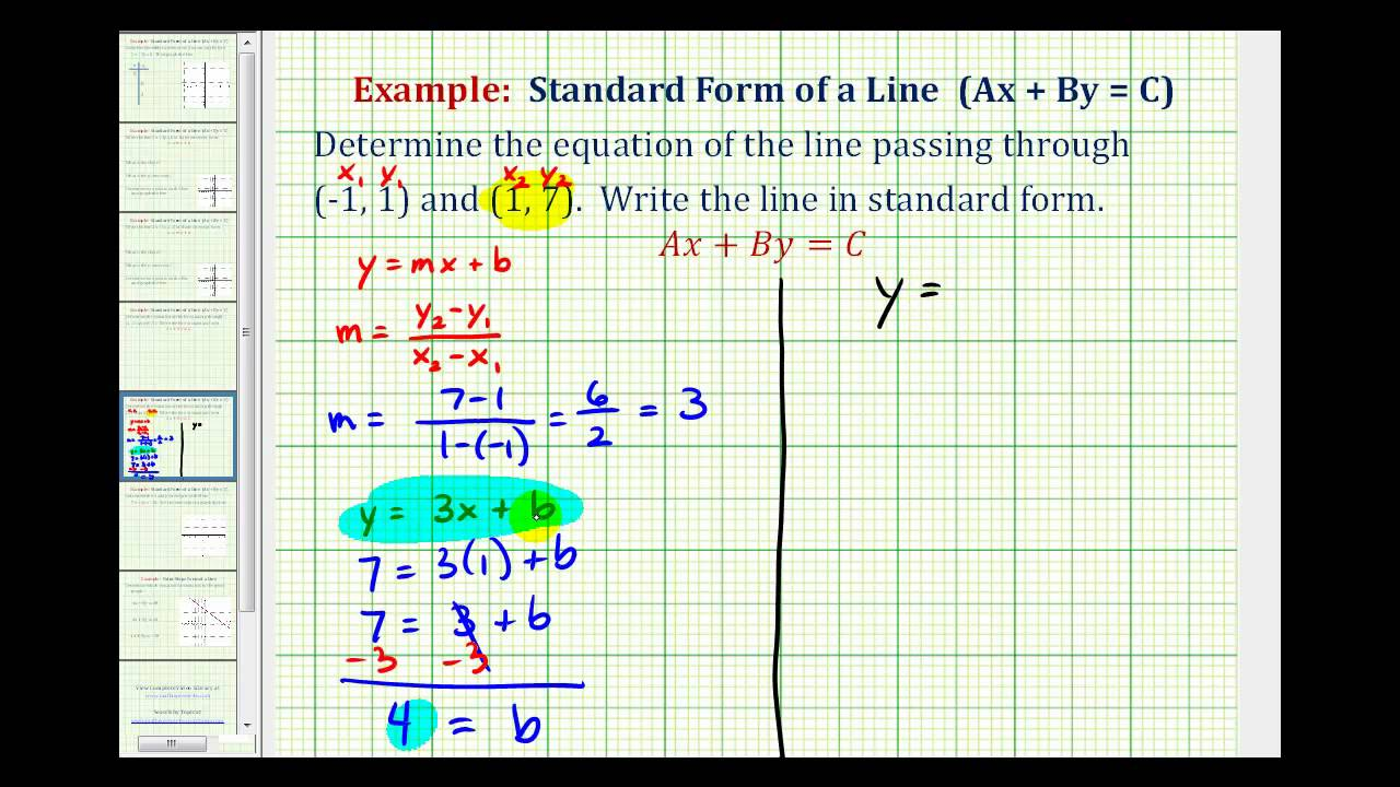 Ex 1: Find The Equation Of A Line In Standard Form Given Two Points
