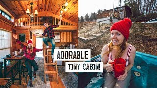 Tour of Our Winter TINY HOME Cabin! + Trying Local Fast Food ? (Boone, NC)