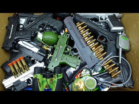 Military Toy Guns Box! Toy Guns and Equipment Most Used by Soldiers - Pistol and Rifles