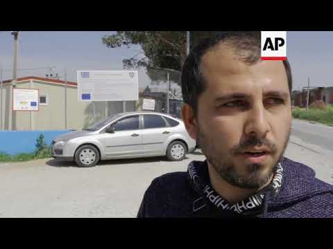 Syrian refugee in Greece reacts to airstrikes