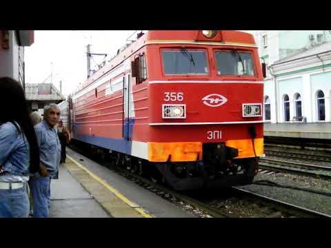 Прибытие электровоза ЭП1-356 с фирменным поездом #005Г《Лотос》(Москва-Астрахань) на станцию Саратов-1