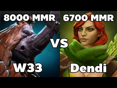 w33 8000 MMR Plays Magnus vs Na`Vi Dendi 6700 MMR Plays Windranger - Ranked Match Dota 2 Gameplay