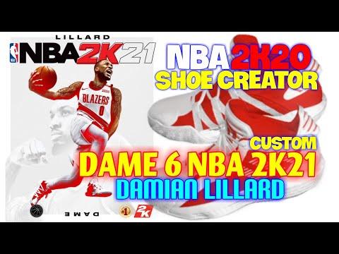 Nba 2k20 Shoe Creator Dame 6 Nba 2k21 Damian Lillard Adidas Nba Shoe Creator Youtube