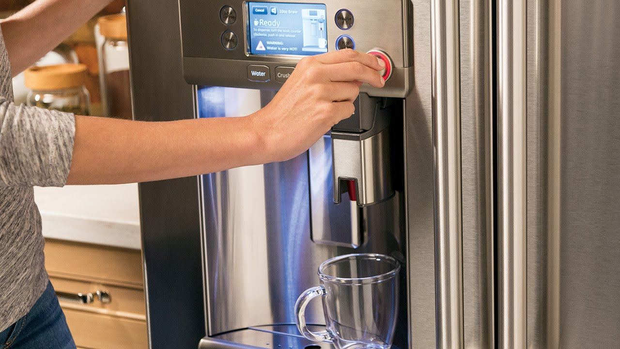 ge cafe fridge with keurig kcup brewing system
