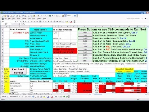 Introduction to Ultimate Stock Finder 'Stock Evaluator' Spreadsheet