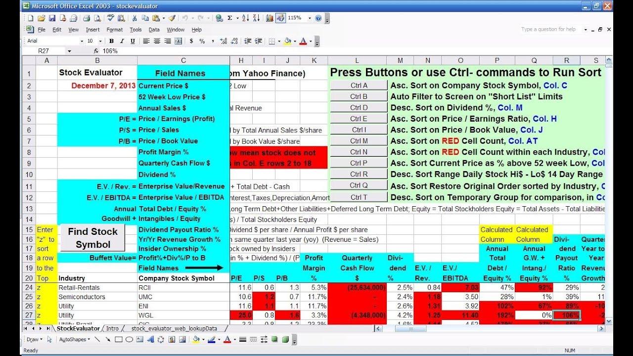 USF Stock Evaluator Screener