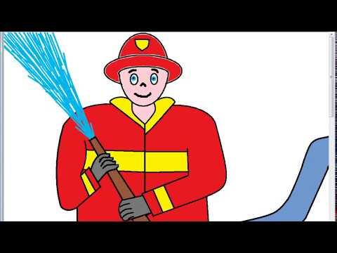 Dibujos Para Niños Bombero Con Manguera De Agua Animada Youtube