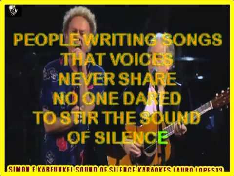 VIDEO KARAOKE SIMON E KARFUNKEL SOUND OF SILENCE  SEM BACKING VOCAL E 2° VOZ