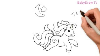 Cute Unicorn drawing for kids | Unicorn drawing easy step by step