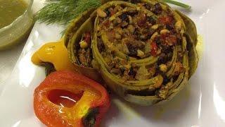 Артишок запеченный, фаршированный грибами  Французская кухня