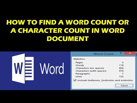 HOW TO FIND A WORD COUNT OR A CHARACTER COUNT IN WORD DOCUMENT
