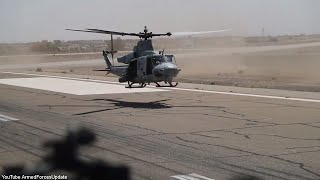 US Military UH-1Y Helicopter shows it's Machine Gun Power