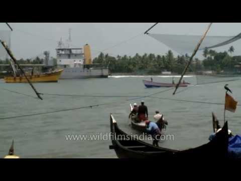 Fishermen go fishing on their boat in the Arabian sea