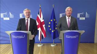 Michel Barnier and David Davis statements ahead of the third week of Brexit negotiations