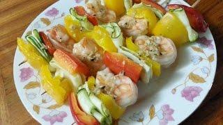 Grilled Shrimp Skewers (121 Calories Per Skewer), Colorful, Delicious & Healthy!
