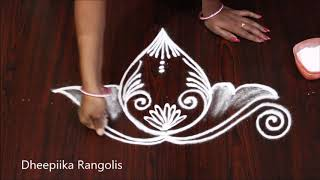 Beautifull freehand border rangoli design l latest rangoli design l simple border muggulu