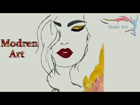 SHRISHTI ARTS | How to draw a  beautifull girl modern art