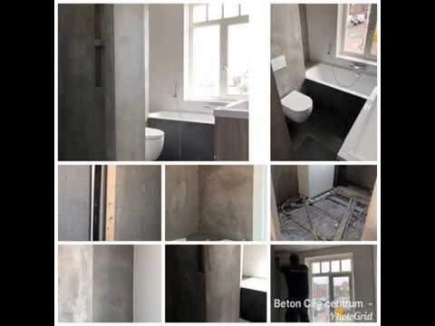 Beton cire badkamer gecombineerd met tegels beton cire centrum
