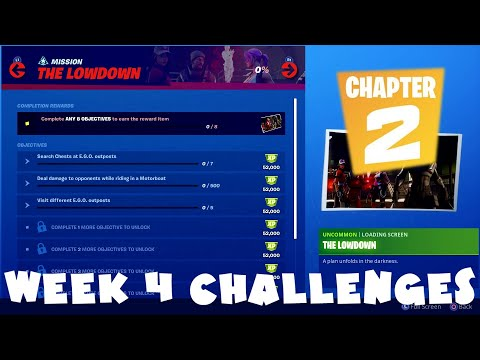 *NEW* ALL Week 4 Chapter 2 Season 1 Challenges Guide - Lowdown - Fortnite Battle Royale