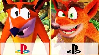 CRASH BANDICOOT REMASTERED VS Crash Bandicoot PS1 - Gameplay Comparison (2017)