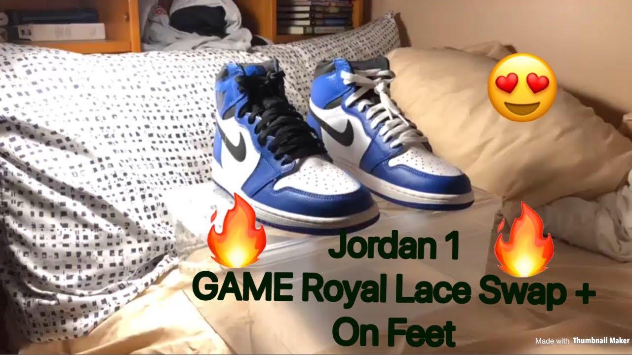 Nike Air Jordan 1 Game Royal Lace Swap On Feet Youtube
